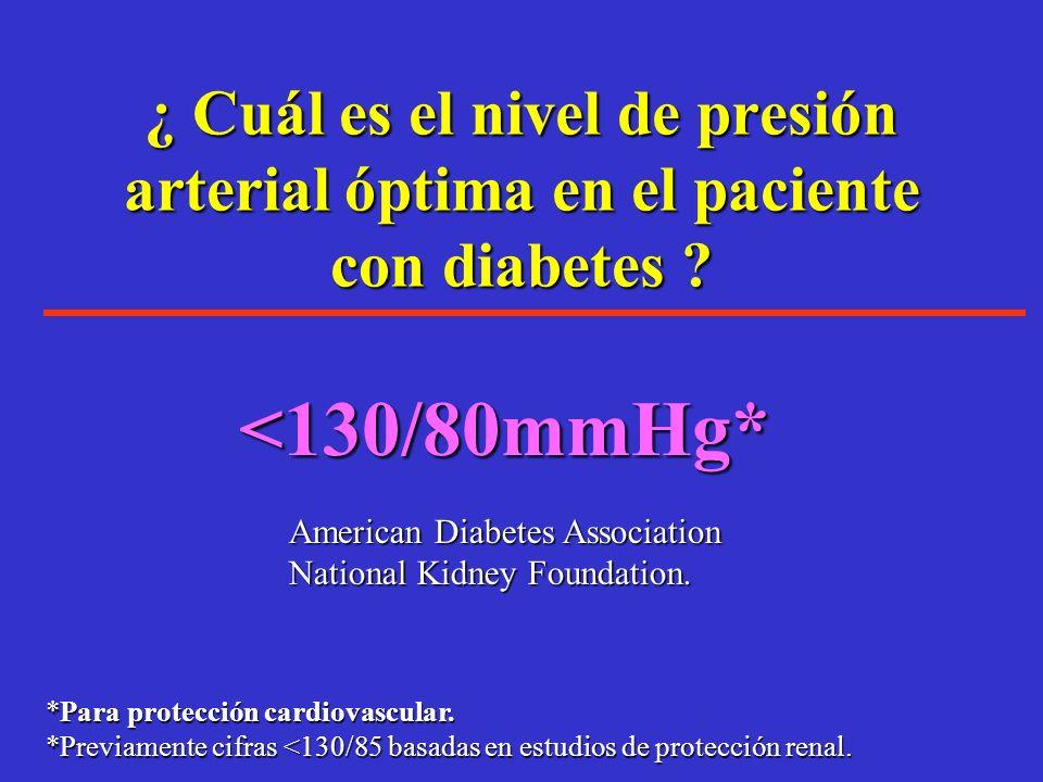 ¿ Cuál es el nivel de presión arterial óptima en el paciente con diabetes ? En el estudio HOT, en el subgrupo de pacientes con diabetes un evento card