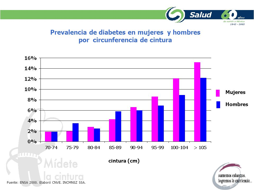 Prevalencia de diabetes en mujeres y hombres por circunferencia de cintura cintura (cm) Mujeres Hombres Fuente: ENSA 2000. Elaboró CNVE. INCMNSZ SSA.