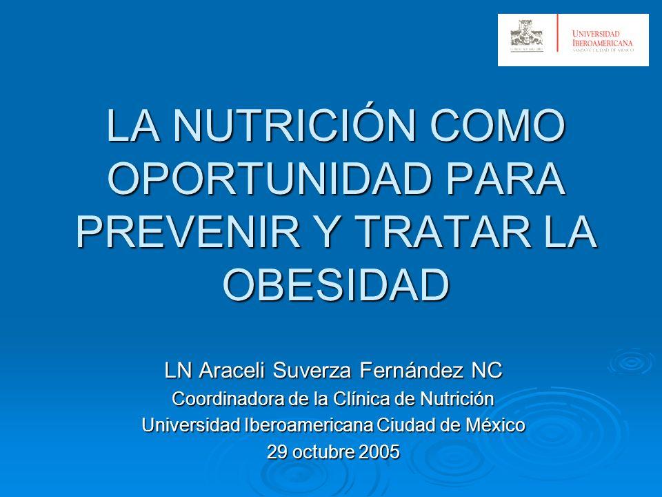 LA NUTRICIÓN COMO OPORTUNIDAD PARA PREVENIR Y TRATAR LA OBESIDAD LN Araceli Suverza Fernández NC Coordinadora de la Clínica de Nutrición Universidad I