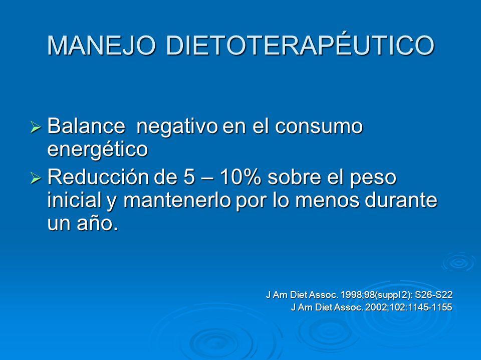 MANEJO DIETOTERAPÉUTICO Balance negativo en el consumo energético Balance negativo en el consumo energético Reducción de 5 – 10% sobre el peso inicial