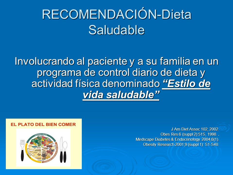 RECOMENDACIÓN-Dieta Saludable Involucrando al paciente y a su familia en un programa de control diario de dieta y actividad física denominado Estilo d