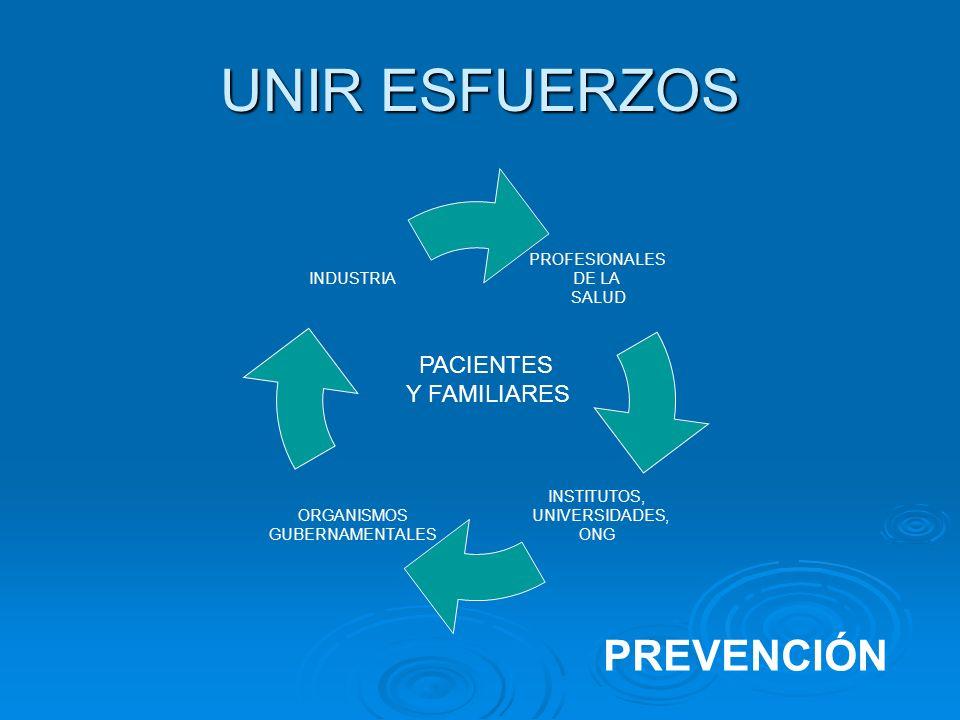 UNIR ESFUERZOS PROFESIONALES DE LA SALUD INSTITUTOS, UNIVERSIDADES, ONG ORGANISMOS GUBERNAMENTALES INDUSTRIA PACIENTES Y FAMILIARES PREVENCIÓN