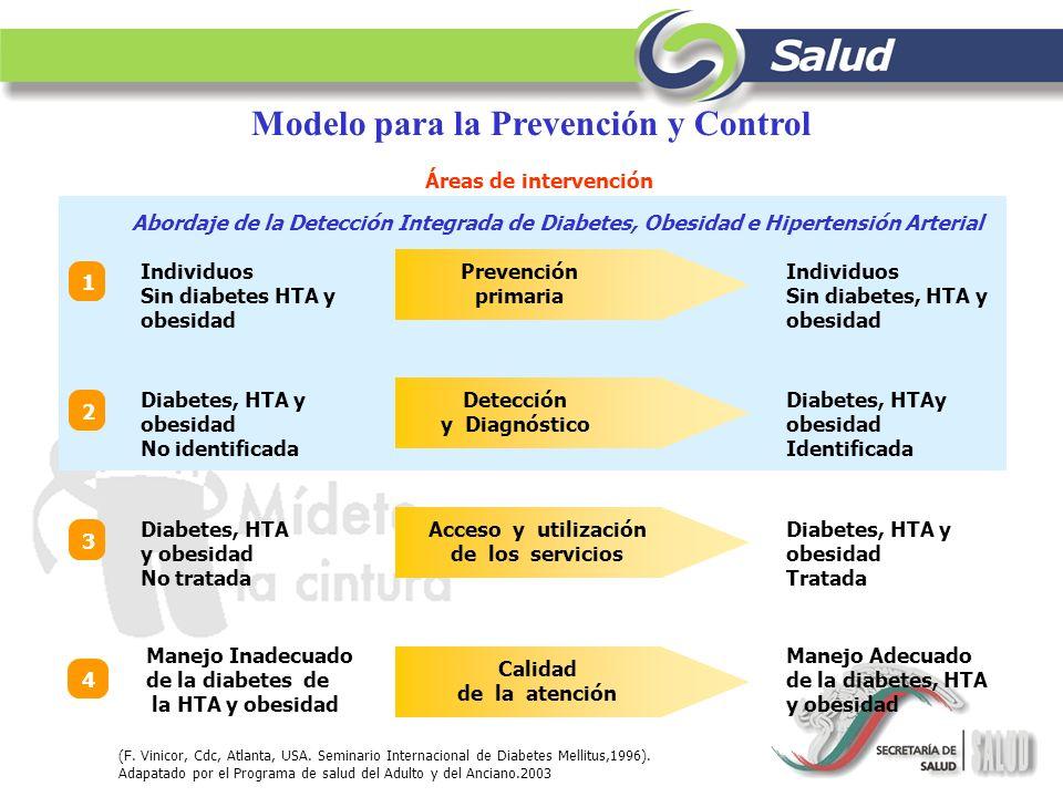 Modelo para la Prevención y Control (F. Vinicor, Cdc, Atlanta, USA. Seminario Internacional de Diabetes Mellitus,1996). Adapatado por el Programa de s