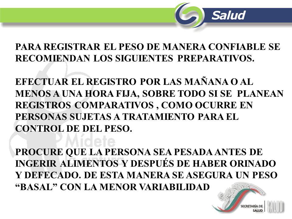 PARA REGISTRAR EL PESO DE MANERA CONFIABLE SE RECOMIENDAN LOS SIGUIENTES PREPARATIVOS. EFECTUAR EL REGISTRO POR LAS MAÑANA O AL MENOS A UNA HORA FIJA,