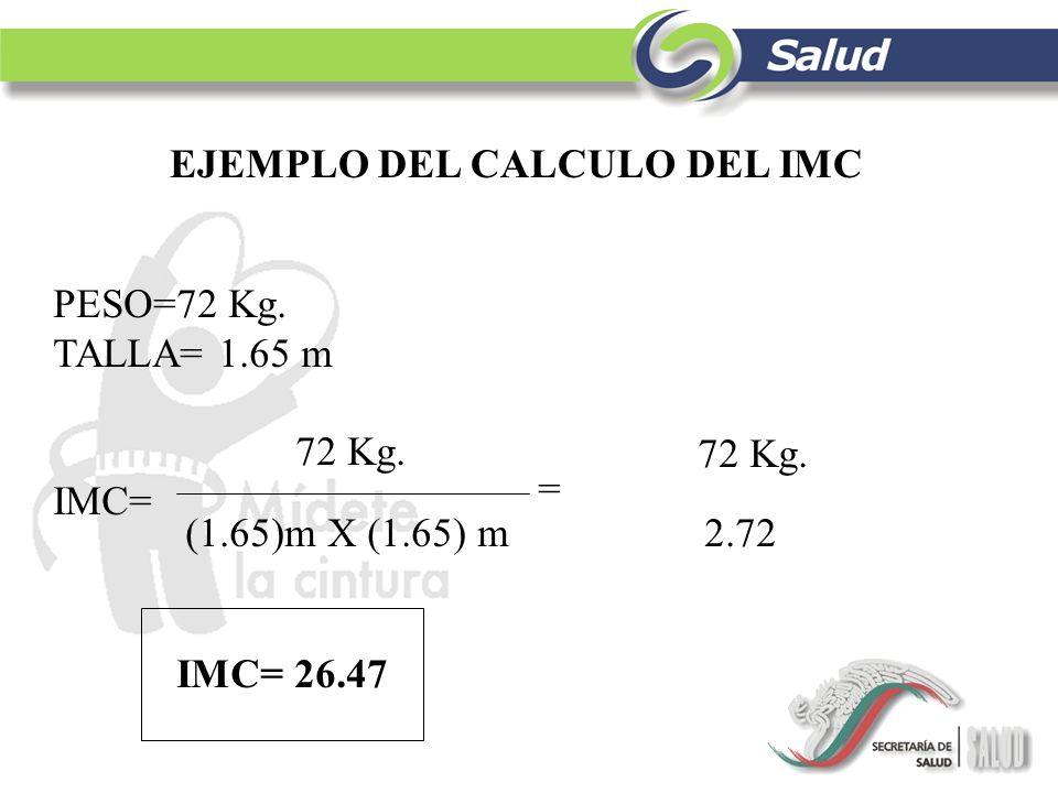 EJEMPLO DEL CALCULO DEL IMC PESO=72 Kg. TALLA= 1.65 m 72 Kg. IMC= (1.65)m X (1.65) m 2.72 = 72 Kg. IMC= 26.47