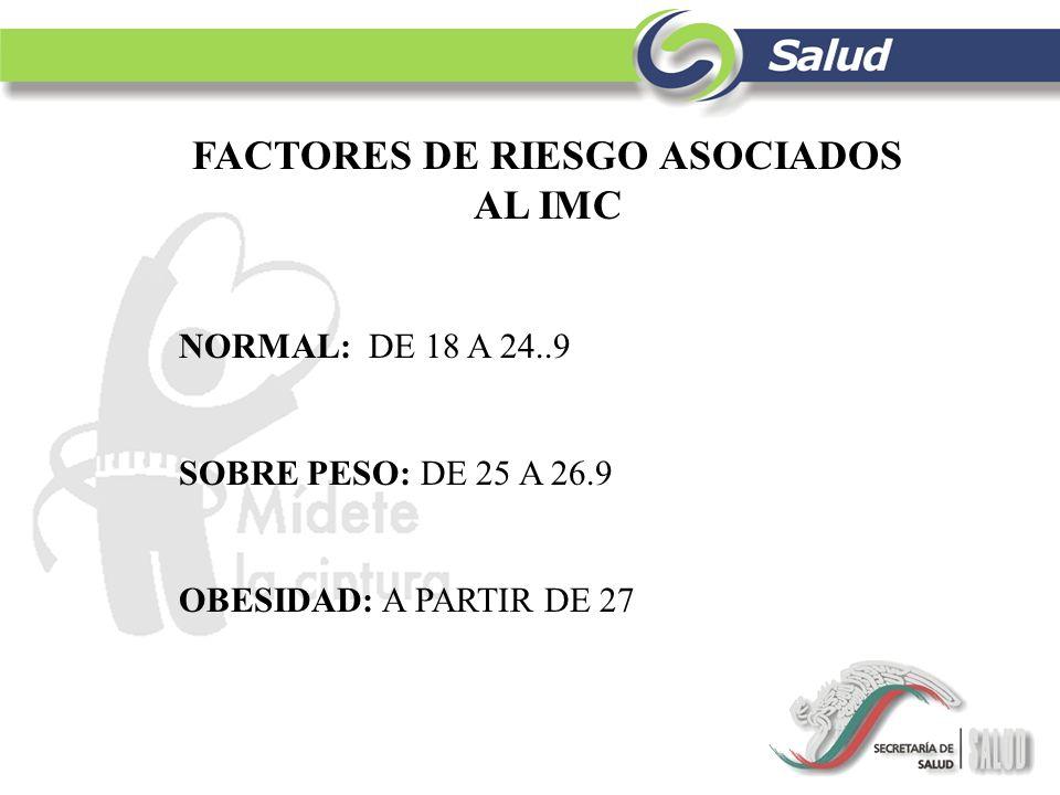 FACTORES DE RIESGO ASOCIADOS AL IMC NORMAL: DE 18 A 24..9 SOBRE PESO: DE 25 A 26.9 OBESIDAD: A PARTIR DE 27
