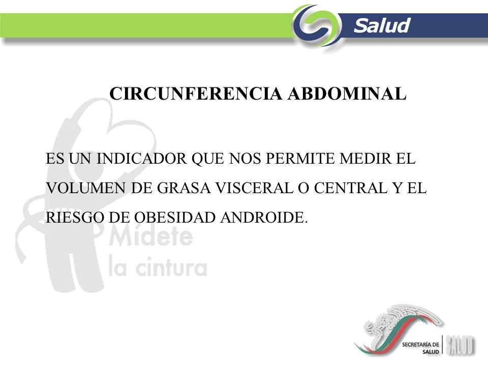 CIRCUNFERENCIA ABDOMINAL ES UN INDICADOR QUE NOS PERMITE MEDIR EL VOLUMEN DE GRASA VISCERAL O CENTRAL Y EL RIESGO DE OBESIDAD ANDROIDE.