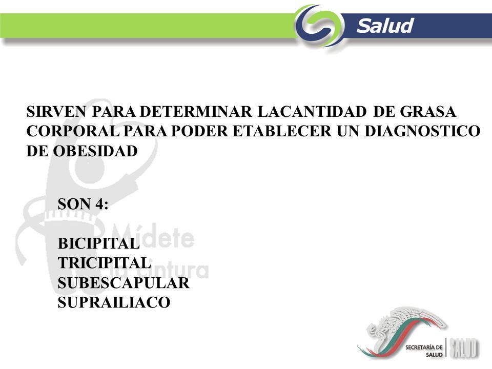 SIRVEN PARA DETERMINAR LACANTIDAD DE GRASA CORPORAL PARA PODER ETABLECER UN DIAGNOSTICO DE OBESIDAD SON 4: BICIPITAL TRICIPITAL SUBESCAPULAR SUPRAILIA