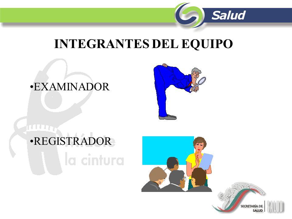 INTEGRANTES DEL EQUIPO EXAMINADOR REGISTRADOR