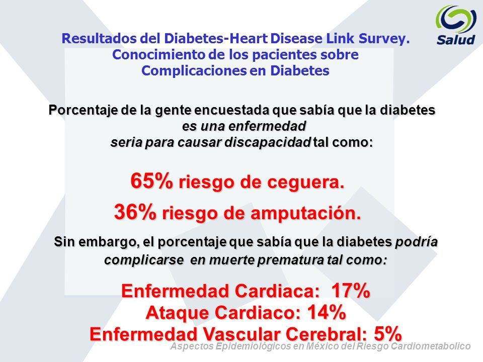 Aspectos Epidemiológicos en México del Riesgo Cardiometabolico Resultados del Diabetes-Heart Disease Link Survey. Conocimiento de los pacientes sobre