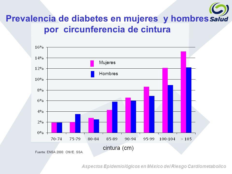 Aspectos Epidemiológicos en México del Riesgo Cardiometabolico Prevalencia de diabetes en mujeres y hombres por circunferencia de cintura Fuente: ENSA