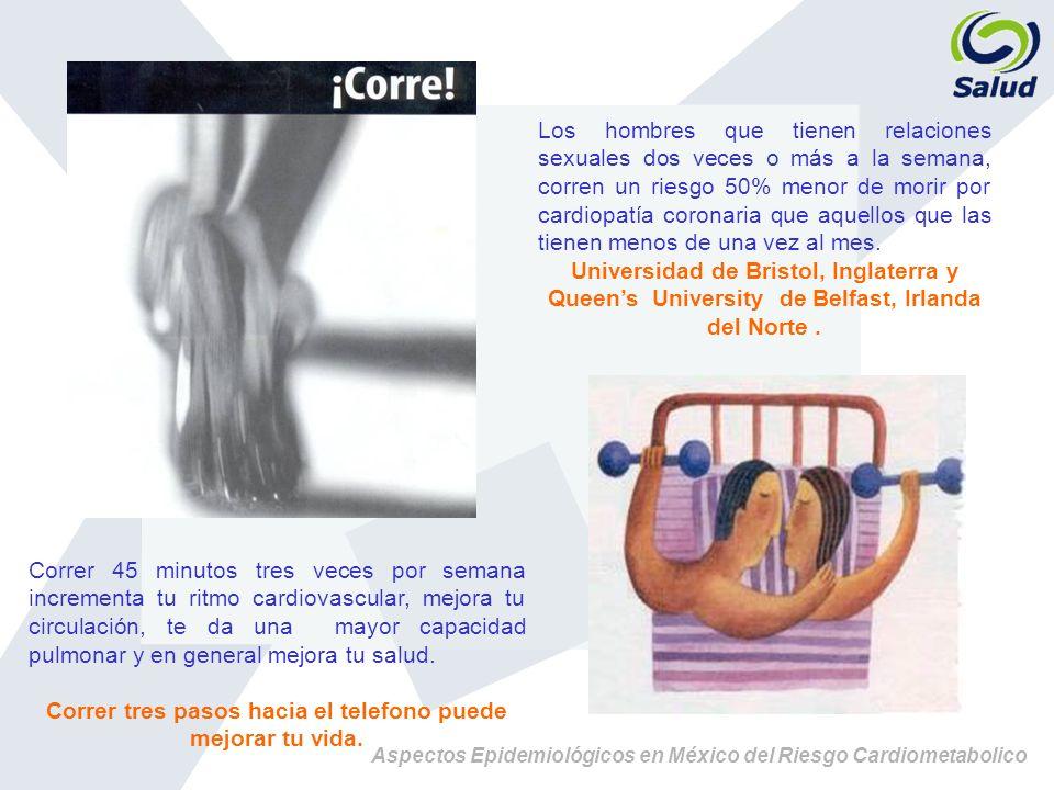 Aspectos Epidemiológicos en México del Riesgo Cardiometabolico Correr 45 minutos tres veces por semana incrementa tu ritmo cardiovascular, mejora tu c