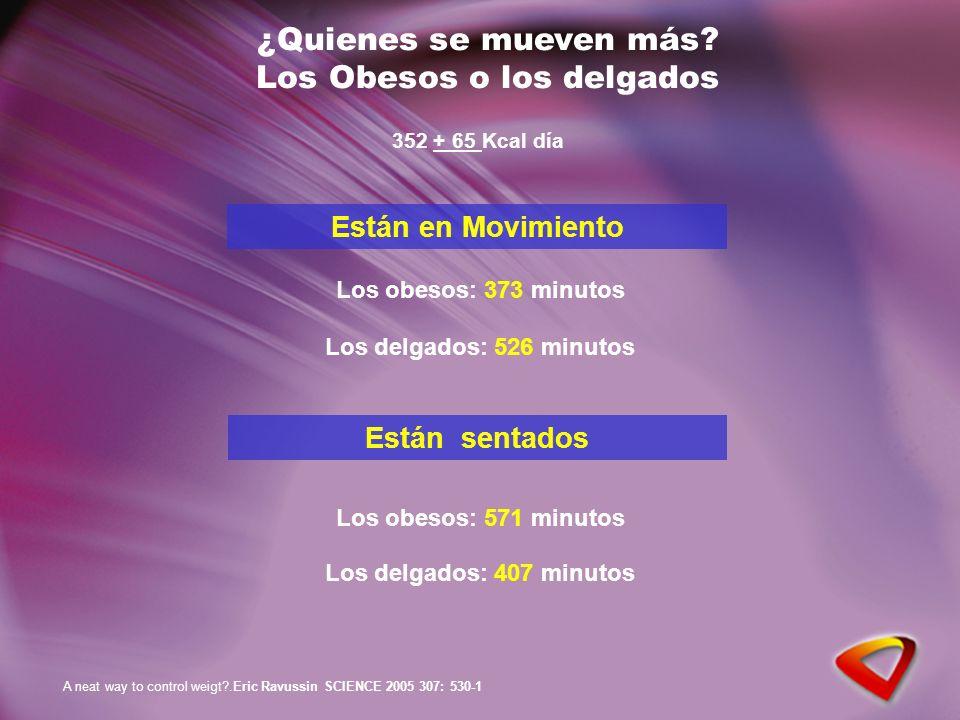 ¿Quienes se mueven más? Los Obesos o los delgados Los obesos: 373 minutos Los delgados: 526 minutos Están en Movimiento Los obesos: 571 minutos Los de