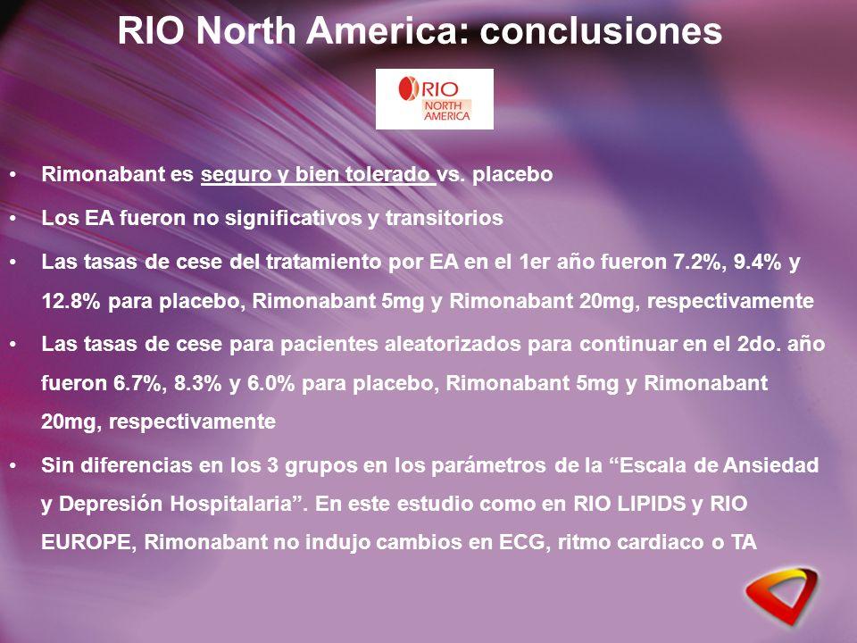 Rimonabant es seguro y bien tolerado vs. placebo Los EA fueron no significativos y transitorios Las tasas de cese del tratamiento por EA en el 1er año