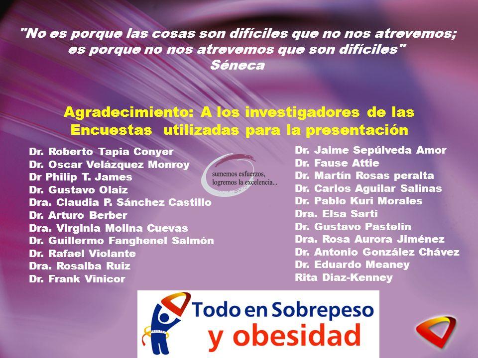 Dr. Roberto Tapia Conyer Dr. Oscar Velázquez Monroy Dr Philip T. James Dr. Gustavo Olaiz Dra. Claudia P. Sánchez Castillo Dr. Arturo Berber Dra. Virgi