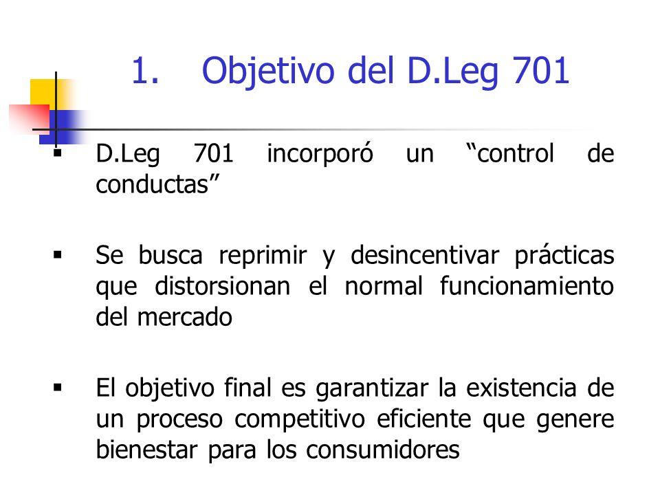 D.Leg 701 incorporó un control de conductas Se busca reprimir y desincentivar prácticas que distorsionan el normal funcionamiento del mercado El objetivo final es garantizar la existencia de un proceso competitivo eficiente que genere bienestar para los consumidores 1.