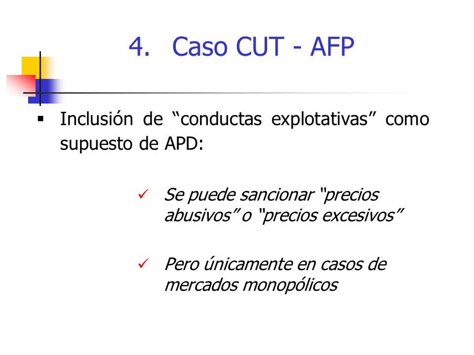 Inclusi ó n de conductas explotativas como supuesto de APD: Se puede sancionar precios abusivos o precios excesivos Pero únicamente en casos de mercados monopólicos 4.Caso CUT - AFP