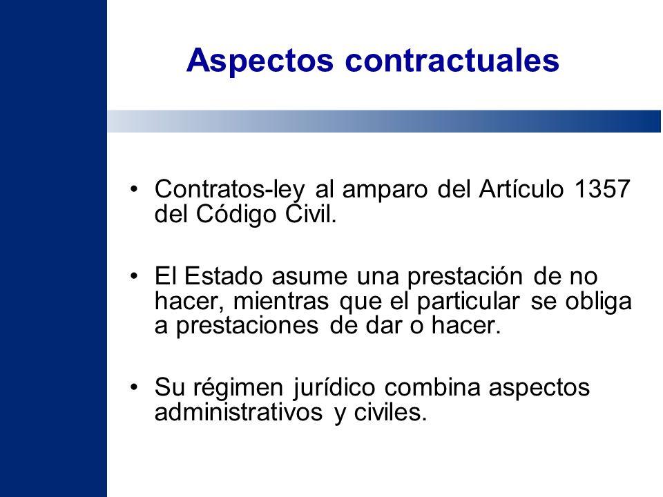 Aspectos contractuales Contratos-ley al amparo del Artículo 1357 del Código Civil. El Estado asume una prestación de no hacer, mientras que el particu