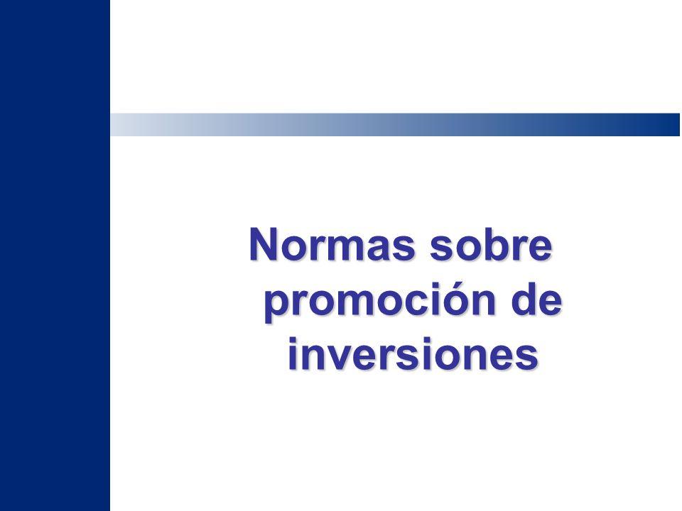 Normas sobre promoción de inversiones