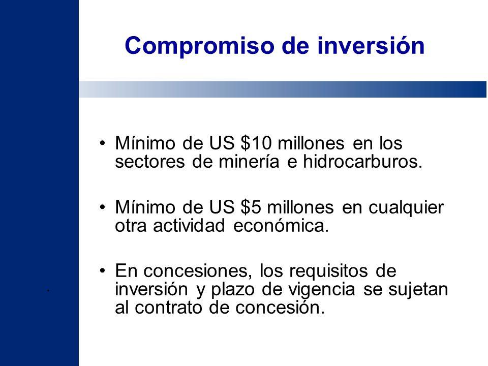 Compromiso de inversión Mínimo de US $10 millones en los sectores de minería e hidrocarburos. Mínimo de US $5 millones en cualquier otra actividad eco