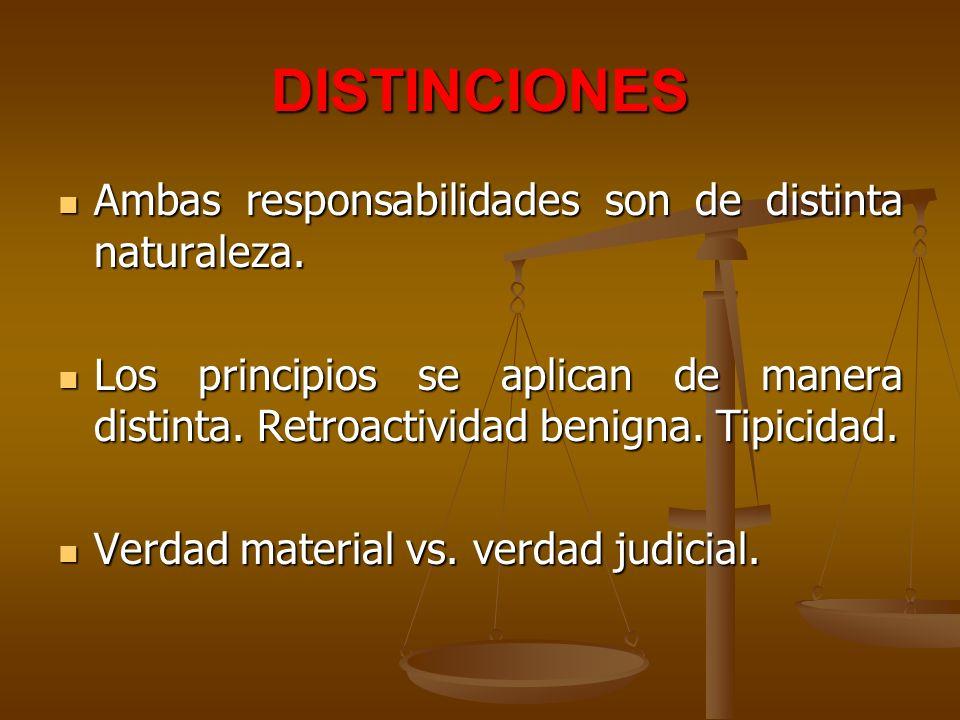 DISTINCIONES Ambas responsabilidades son de distinta naturaleza. Ambas responsabilidades son de distinta naturaleza. Los principios se aplican de mane
