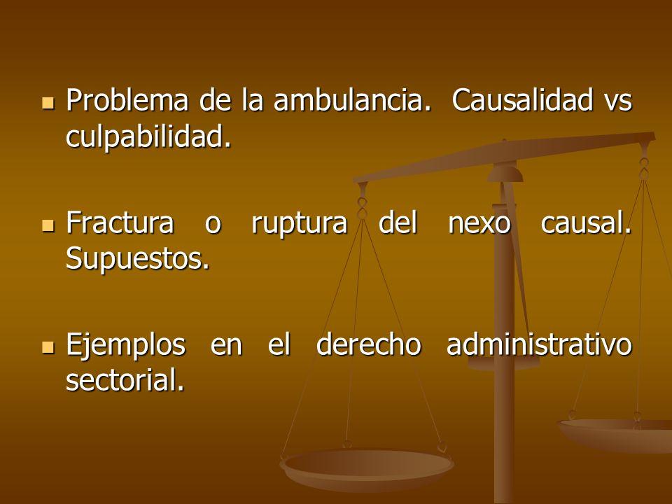 Problema de la ambulancia. Causalidad vs culpabilidad. Problema de la ambulancia. Causalidad vs culpabilidad. Fractura o ruptura del nexo causal. Supu