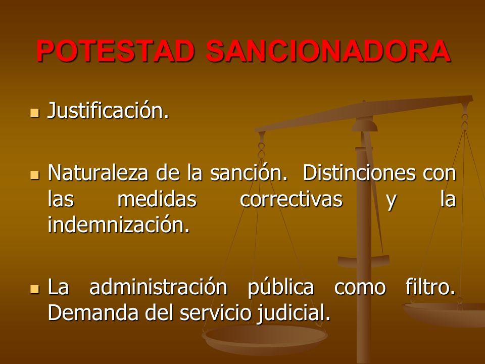 POTESTAD SANCIONADORA Justificación. Justificación. Naturaleza de la sanción. Distinciones con las medidas correctivas y la indemnización. Naturaleza