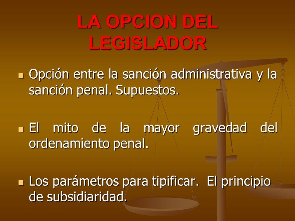 LA OPCION DEL LEGISLADOR Opción entre la sanción administrativa y la sanción penal. Supuestos. Opción entre la sanción administrativa y la sanción pen