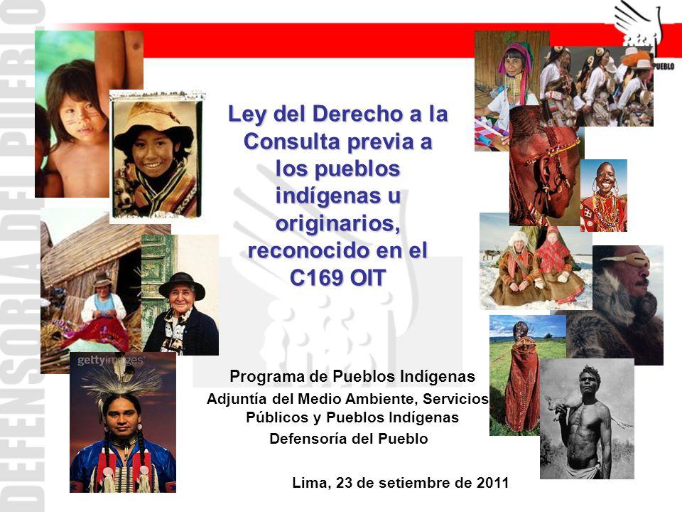 Ley del Derecho a la Consulta previa a los pueblos indígenas u originarios, reconocido en el C169 OIT Programa de Pueblos Indígenas Adjuntía del Medio