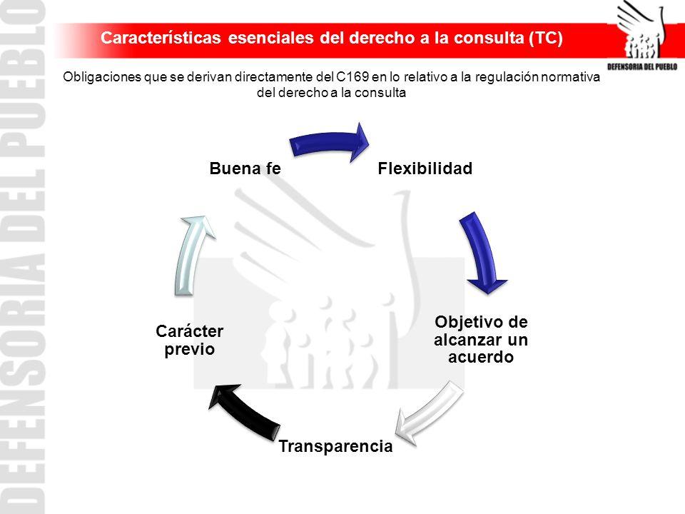 Características esenciales del derecho a la consulta (TC) Obligaciones que se derivan directamente del C169 en lo relativo a la regulación normativa d