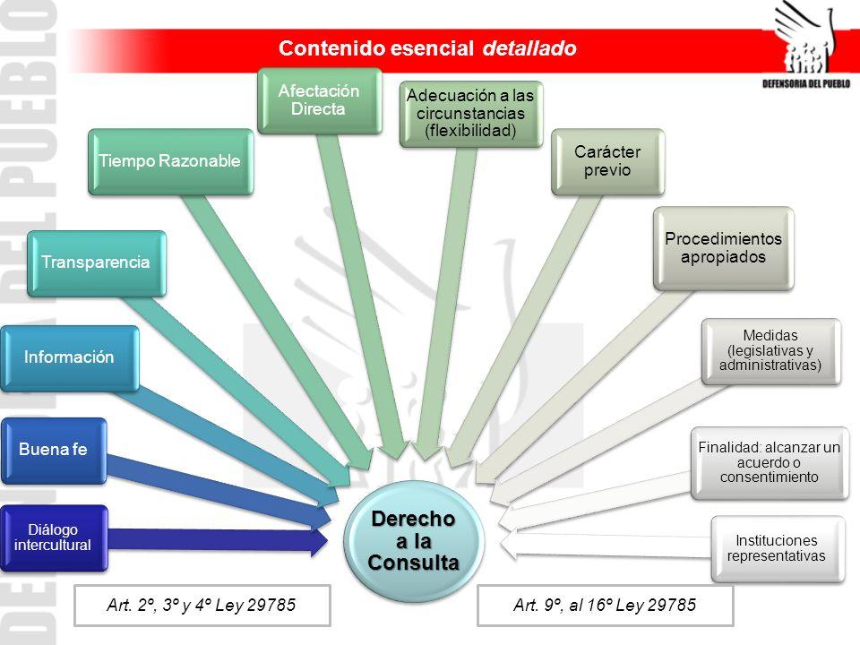 Derecho a la Consulta Diálogo intercultural Buena feInformaciónTransparenciaTiempo Razonable Afectación Directa Adecuación a las circunstancias (flexi