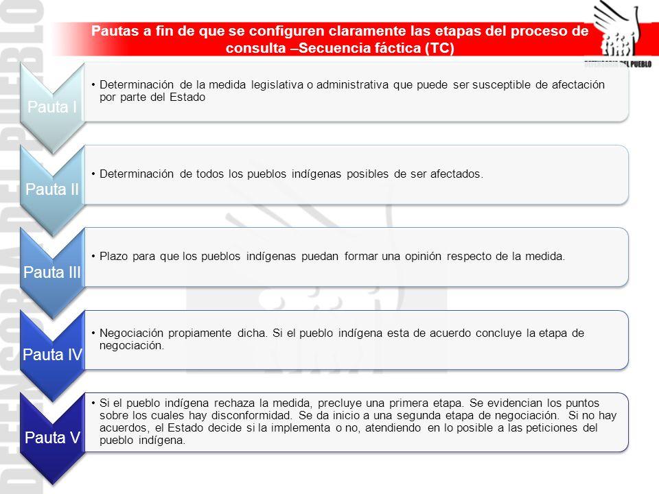 Pautas a fin de que se configuren claramente las etapas del proceso de consulta –Secuencia fáctica (TC) Pauta I Determinación de la medida legislativa
