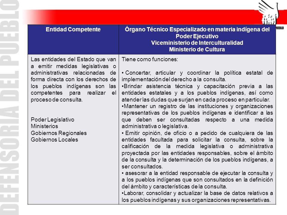 Entidad CompetenteÓrgano Técnico Especializado en materia indígena del Poder Ejecutivo Viceministerio de Interculturalidad Ministerio de Cultura Las e