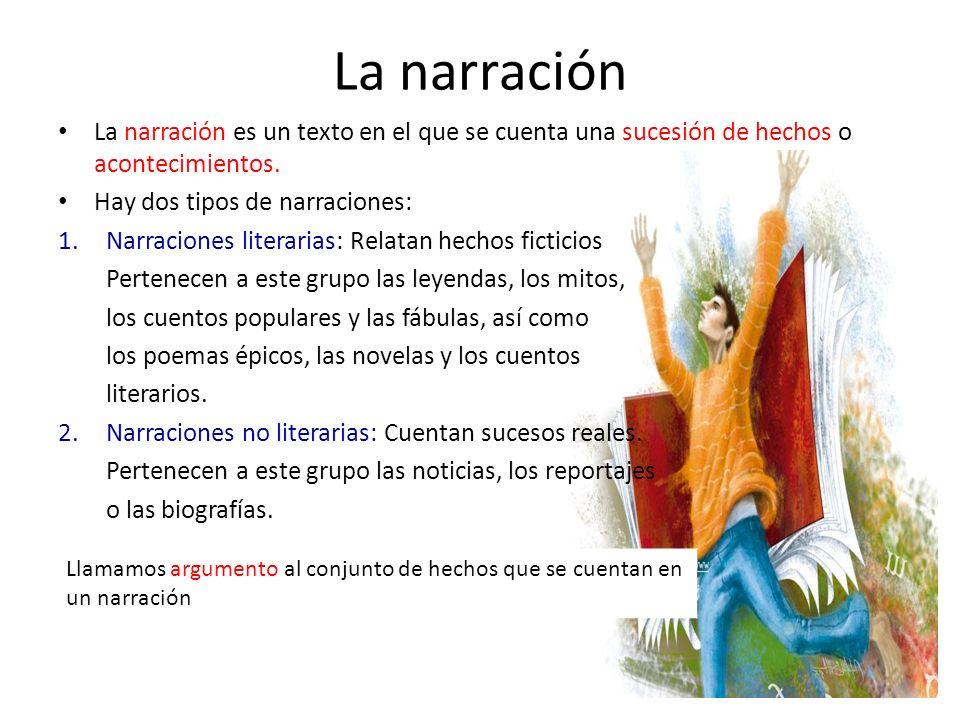 La narración La narración es un texto en el que se cuenta una sucesión de hechos o acontecimientos. Hay dos tipos de narraciones: 1.Narraciones litera