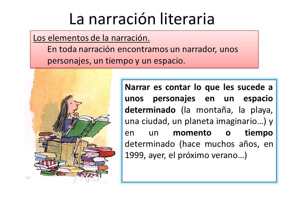 La narración literaria Narrar es contar lo que les sucede a unos personajes en un espacio determinado (la montaña, la playa, una ciudad, un planeta im