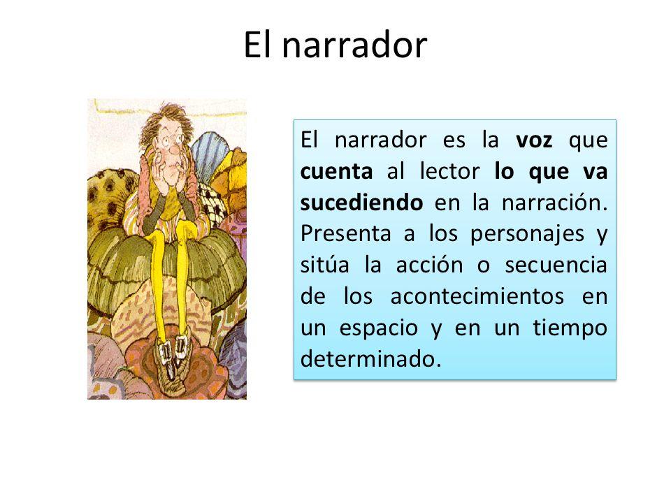 El narrador El narrador es la voz que cuenta al lector lo que va sucediendo en la narración. Presenta a los personajes y sitúa la acción o secuencia d