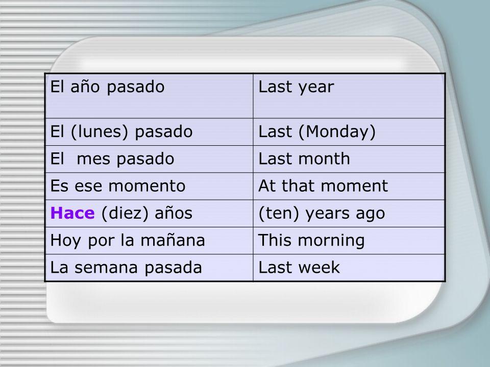 El año pasadoLast year El (lunes) pasadoLast (Monday) El mes pasadoLast month Es ese momentoAt that moment Hace (diez) años(ten) years ago Hoy por la mañanaThis morning La semana pasadaLast week