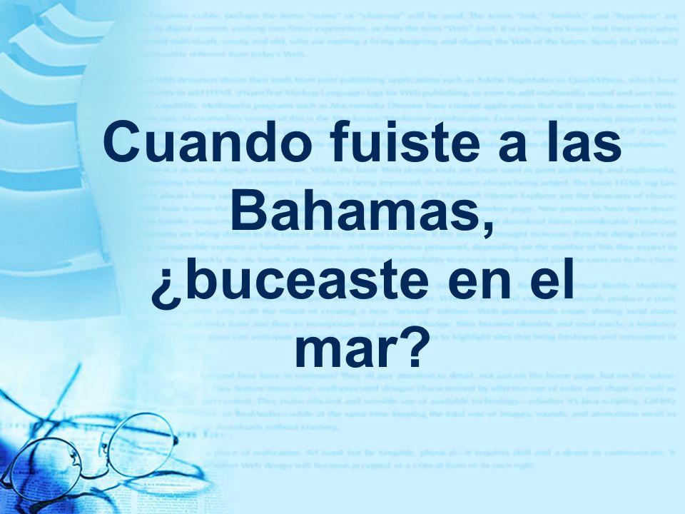 Cuando fuiste a las Bahamas, ¿buceaste en el mar?