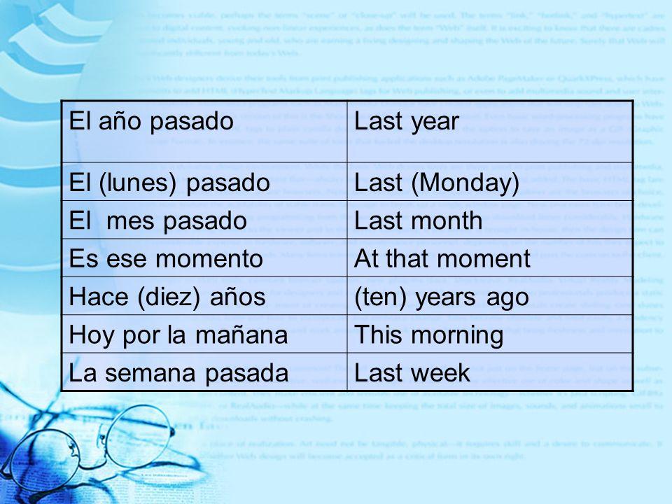 El año pasadoLast year El (lunes) pasadoLast (Monday) El mes pasadoLast month Es ese momentoAt that moment Hace (diez) años(ten) years ago Hoy por la