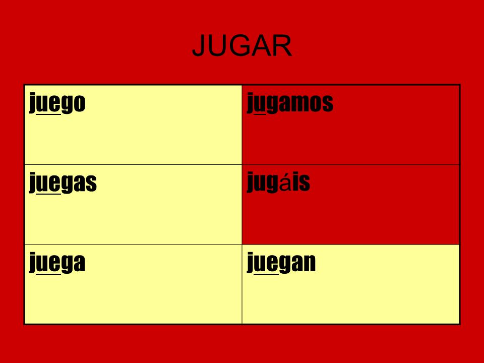 JUGAR juegojugamos juegasjug á is juegajuegan
