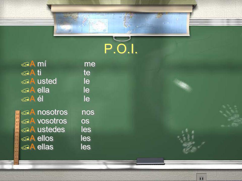 Pronombres del objeto indirecto P.O.I. / A mí / A ti / A usted / A ella / A él / A mí / A ti / A usted / A ella / A él / A nosotros / A vosotros / A u