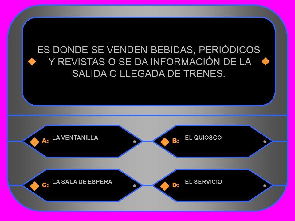 11 A:B: LA VENTANILLAEL QUIOSCO ES DONDE SE VENDEN BEBIDAS, PERIÓDICOS Y REVISTAS O SE DA INFORMACIÓN DE LA SALIDA O LLEGADA DE TRENES.