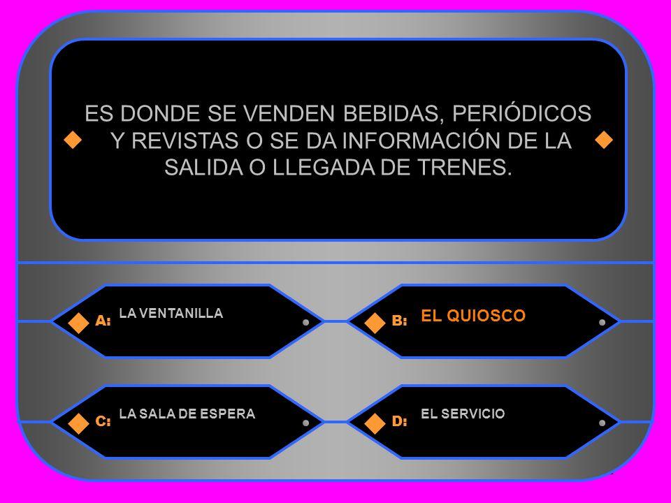 12 A:B: LA VENTANILLA EL QUIOSCO ES DONDE SE VENDEN BEBIDAS, PERIÓDICOS Y REVISTAS O SE DA INFORMACIÓN DE LA SALIDA O LLEGADA DE TRENES.