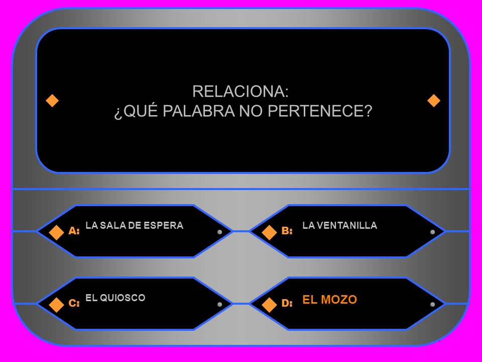 28 A:B: LA SALA DE ESPERALA VENTANILLA RELACIONA: ¿QUÉ PALABRA NO PERTENECE.
