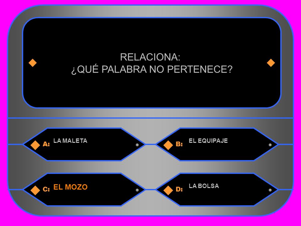 34 A:B: LA MALETAEL EQUIPAJE RELACIONA: ¿QUÉ PALABRA NO PERTENECE C:D: EL MOZO LA BOLSA