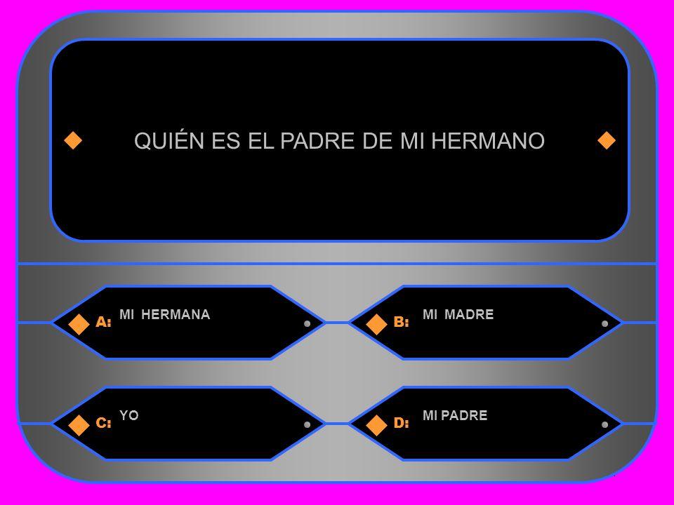 4 A:B: MI HERMANAMI MADRE QUIÉN ES EL PADRE DE MI HERMANO C:D: YOMI PADRE
