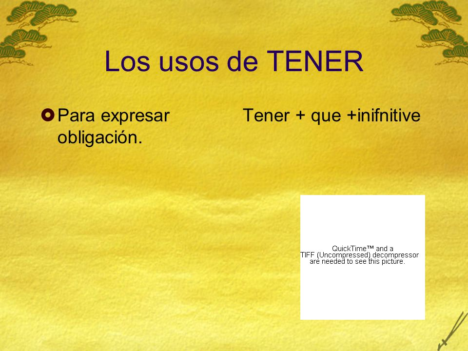 Los usos de TENER El equivalente a To be + adjective… -Tener hambre -Tener sed -Tener sueño -Tener buena o mala suerte -Tener prisa -Tener miedo -Tener la culpa -Tener lugar
