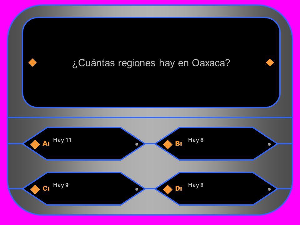19 A:B: Hay 11Hay 6 ¿Cuántas regiones hay en Oaxaca C:D: Hay 9Hay 8