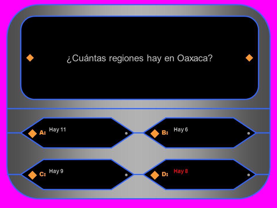 20 A:B: Hay 11Hay 6 ¿Cuántas regiones hay en Oaxaca C:D: Hay 9Hay 8