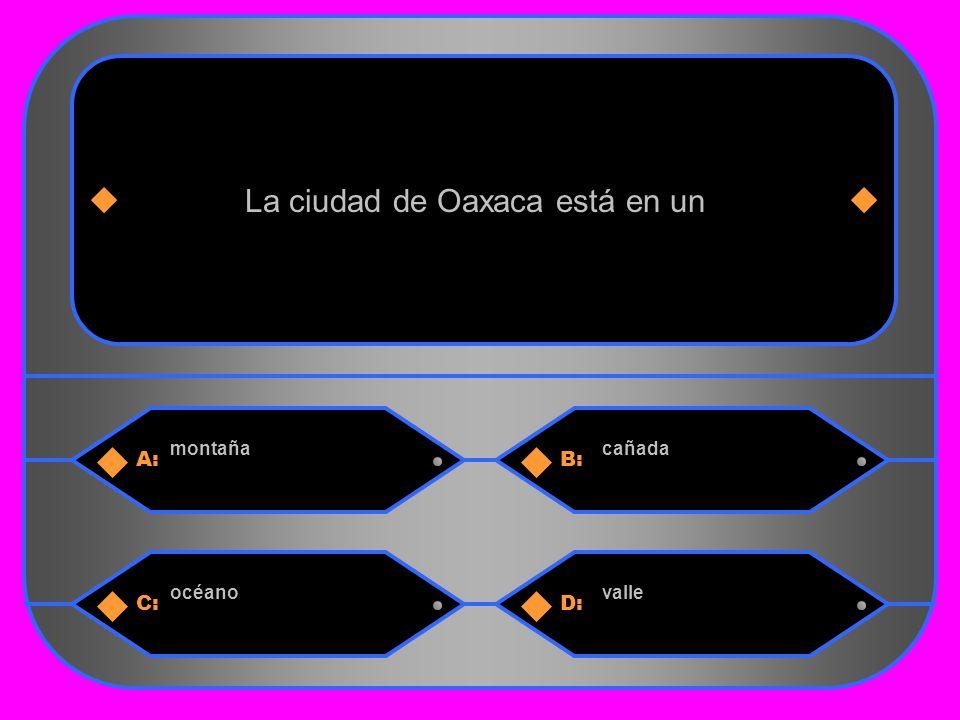 27 A:B: montañacañada La ciudad de Oaxaca está en un C:D: océanovalle